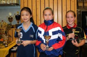 Das Siegerfoto der Schülerinnen B (U 13) Platz 1-3 von links nach rechts Huong Tho Do Thi, Maria Franz und Jessica Gückel. Quelle: STTV