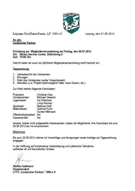 leipziger tischtennisverein leutzscher füchse e.v. einladung zur, Einladung