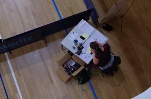 Clickball Quali Region Ost 2014: Gut, dass es in der Halle keinen Wind gibt. Kerstin Meusch hatte alle Zettel und das Turnier im Blick. ©LTTV